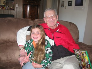 Livy and Grandpa Dick pre-haircut