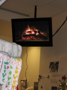 "Rudy's view of the ""yule log"""