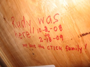 We left our mark in Rudy's room...shhh, don't tell!