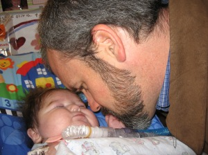 Eskimo kiss from Daddy