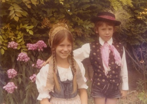 "Rolf and his sister Andi in the ""old country""!  Nice Lederhosen!!!"