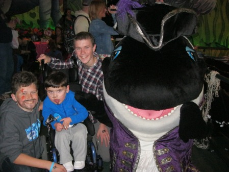 Rudy wasn't too sure about Shamu at the the Pirates & Princesses party...ha