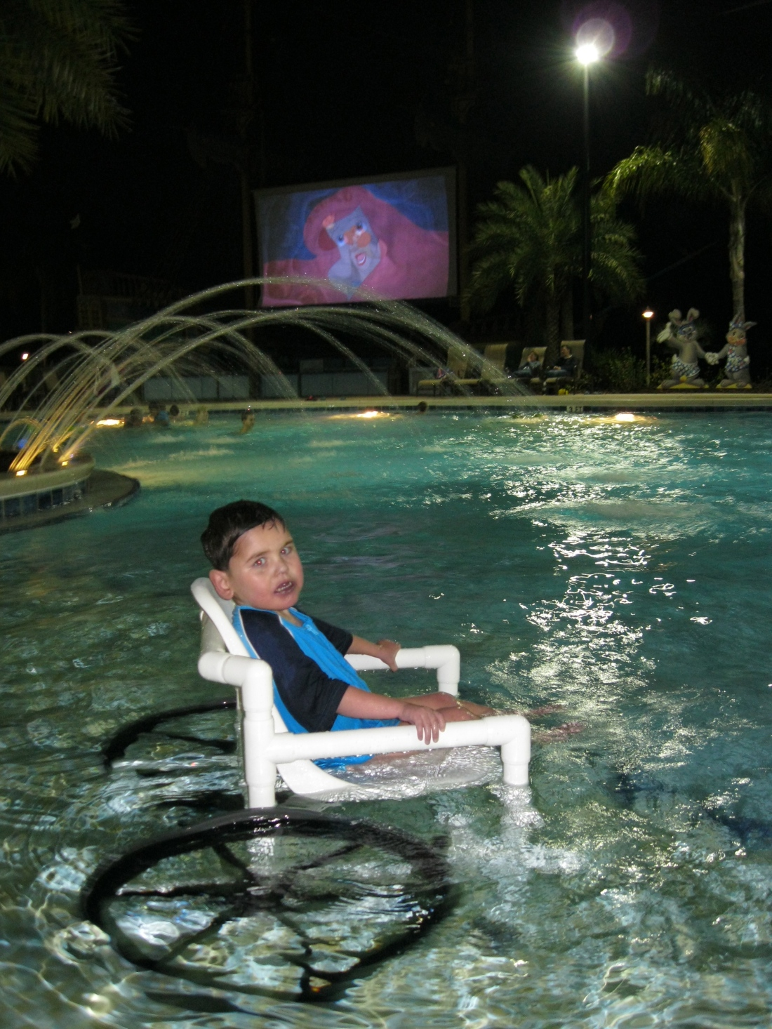 ...and a movie!  :)  (Rudy rocking the water wheelchair)