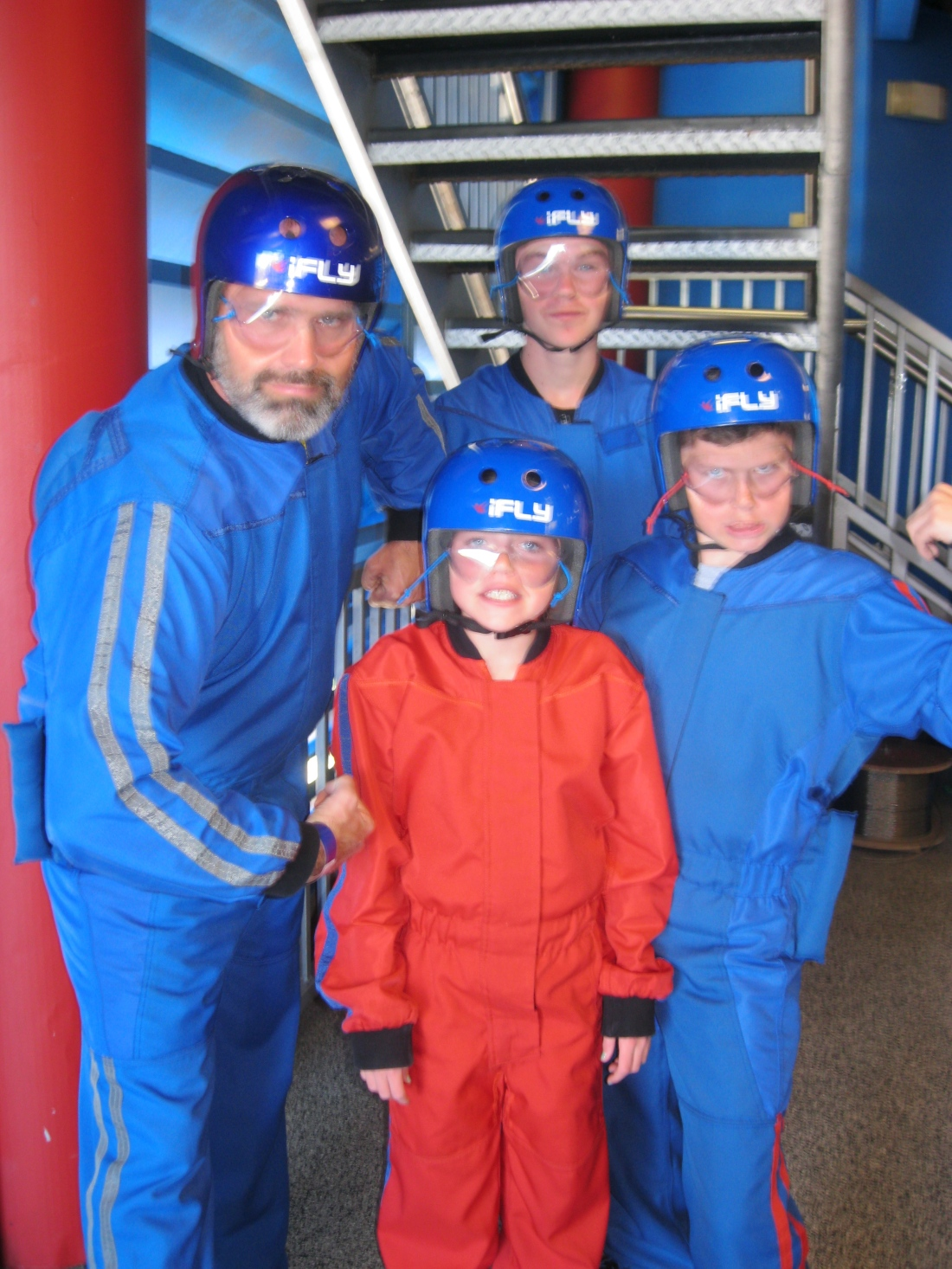 Once we were all packed up, Rolf and the big kids tried a simulated skydiving experience nearby.