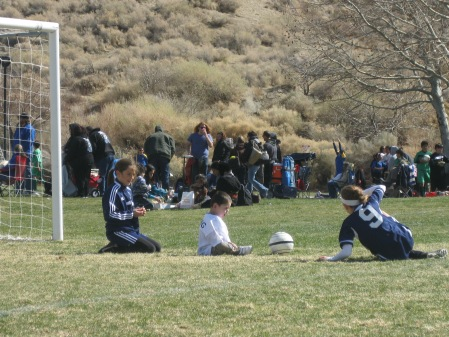 Thanks to Rachel and Olivia, Rudy got a taste of the soccer action in between two nail biting wins for the Barbarians!