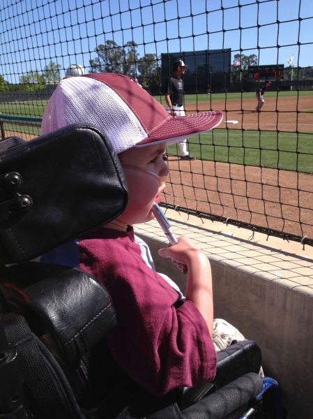 A focused fan at the Westmont Warriors game!