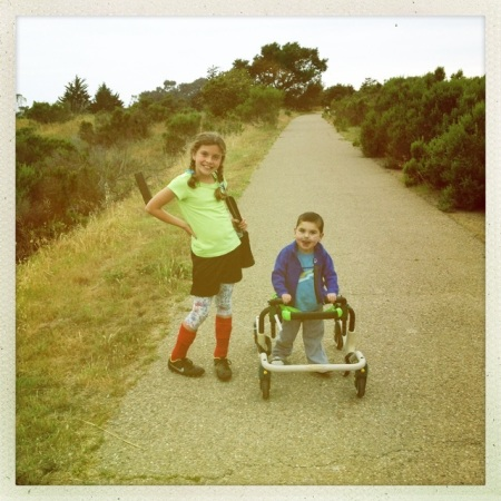 Rudy's new passion is to walk around Lake Los Carneros...Livy is eager to come along and carry the O2 concentrator!