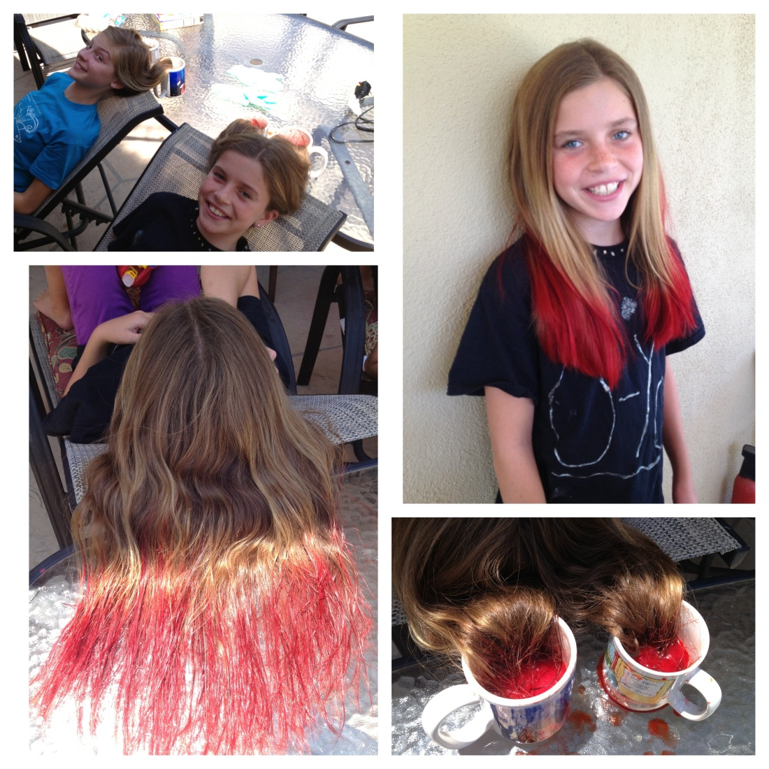 Some summer fun...Kool-aid hair dye!!  Olivia and her friend Cady wanted to dye Rudy's hair!!!  I said no.  Ha Ha