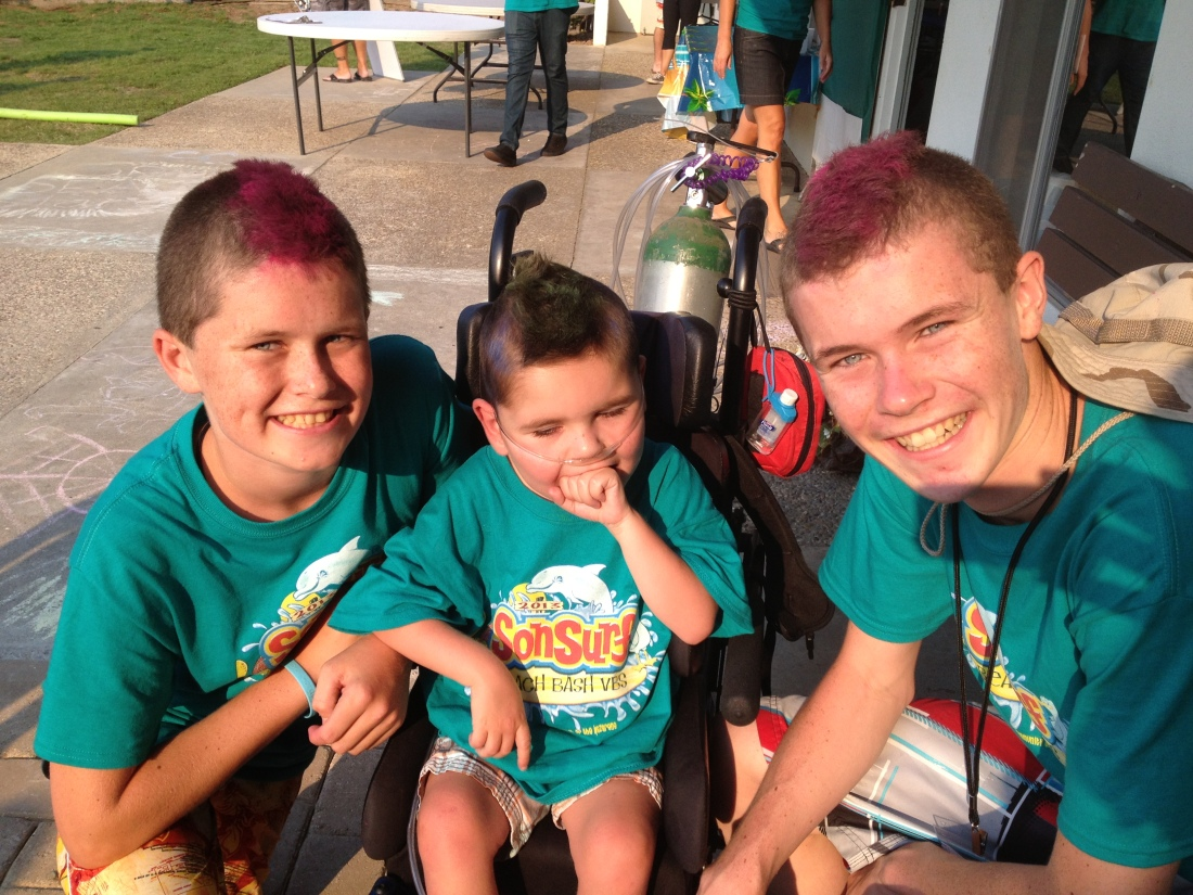 "The boys and their ""brohawks"" at Vacation Bible School!"