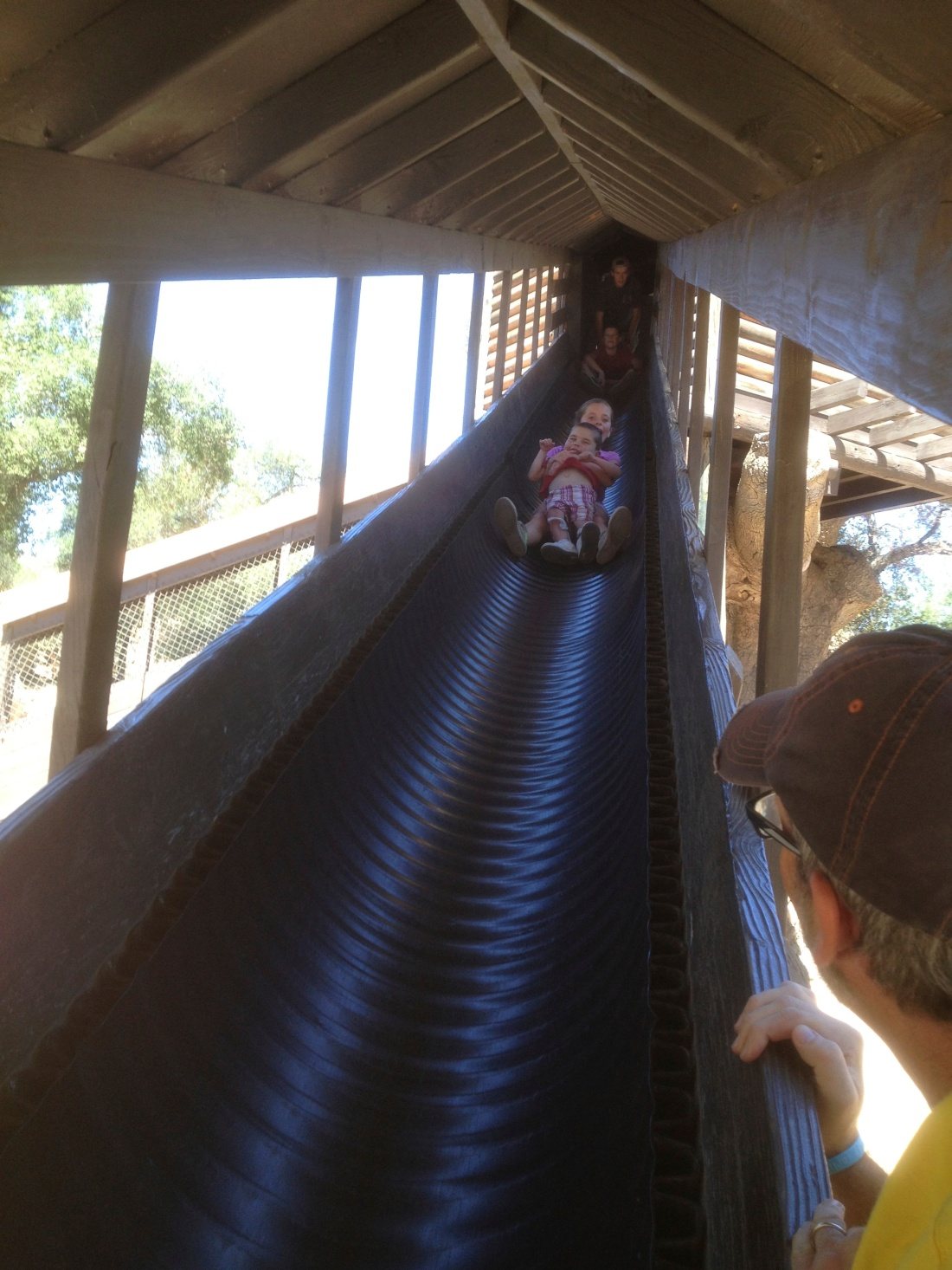 We stayed with our friends who live at Indian Hills Camp...the big sibs made sure Rudy got a turn on the giant slide!