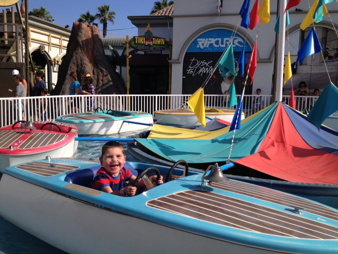 Rudy's favorite ride at Belmont Park on Mission Beach!  He road the boat 7 times!!!
