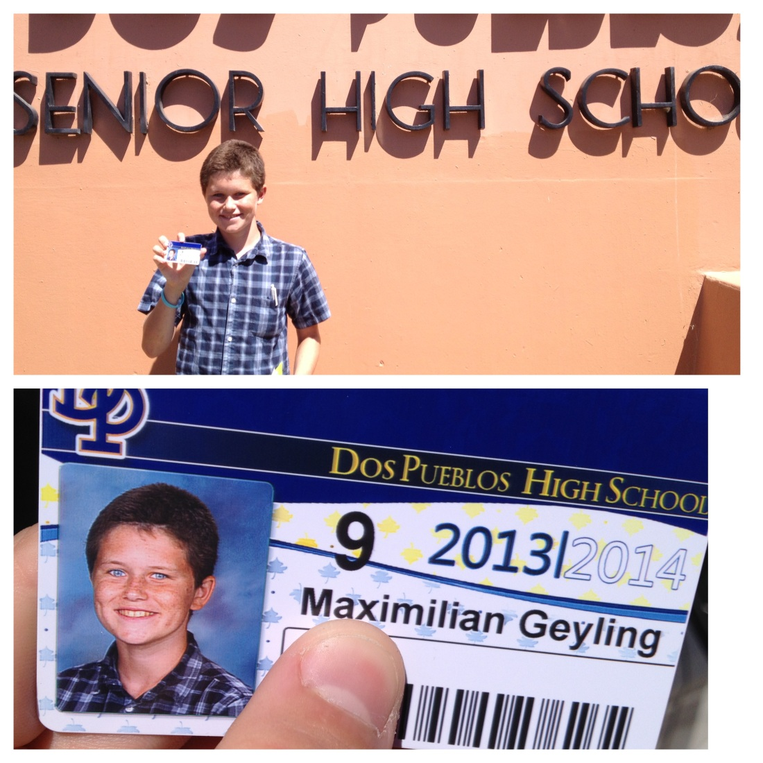 It's official...we now have TWO student i.d. carrying high schoolers!  How is it possible that Max is in high school?