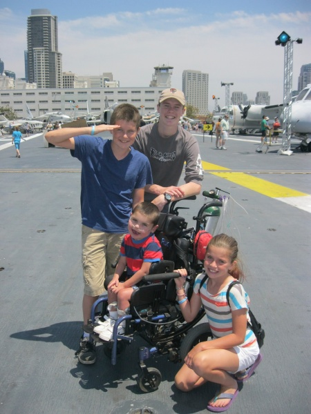 "It was fun to visit the Midway Aircraft Carrier while in San Diego...Rudy liked the ""big boat""."