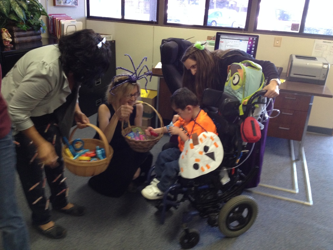Rudy and his classmates got to trick-or-treat through the school district (GUSD) offices for lots of special treats!