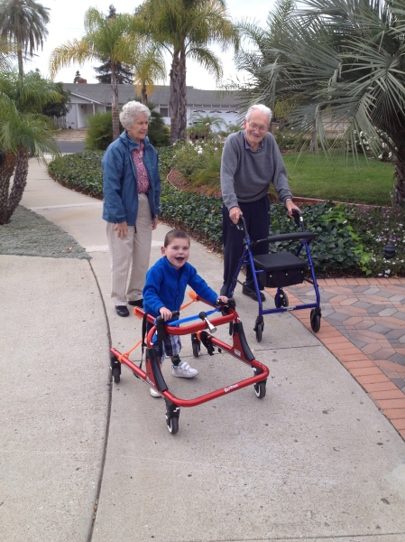 Goin' for a walk with Oma and Opa!