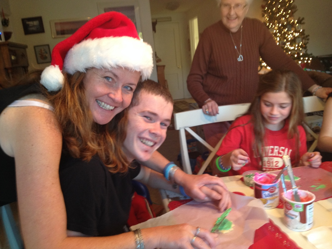 Last minute Christmas preparation included cookie decorating…Wilson spent 20 minutes on one cookie!!