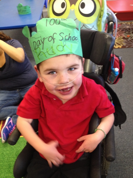 Rudy got to celebrate ANOTHER 100 days of school at his district special ed school…more 100 day fun! 2-19-14