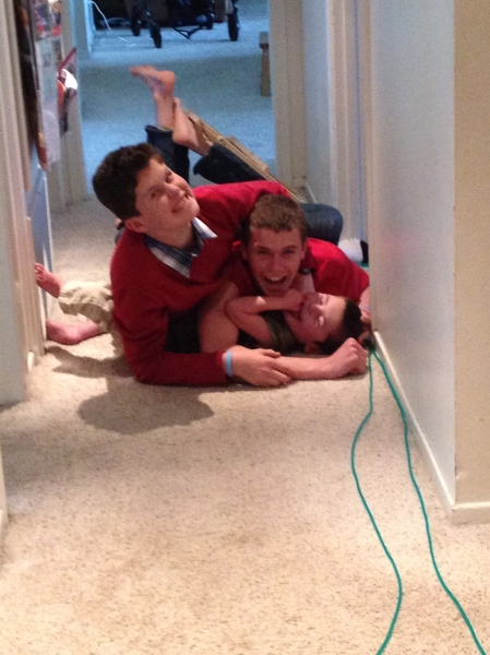 Came home from dropping Olivia off at Volleyball practice to find the boys wrestling in the hallway…Boys!