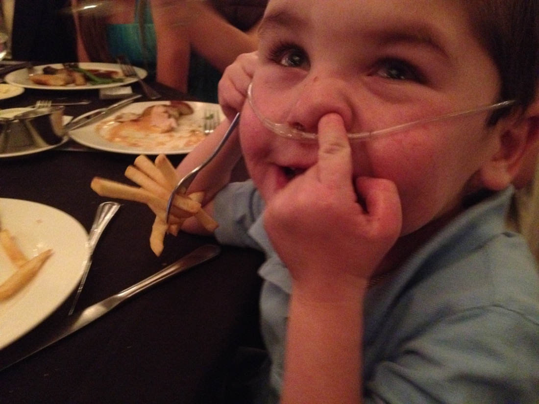 …but needs to work some more on table manners!