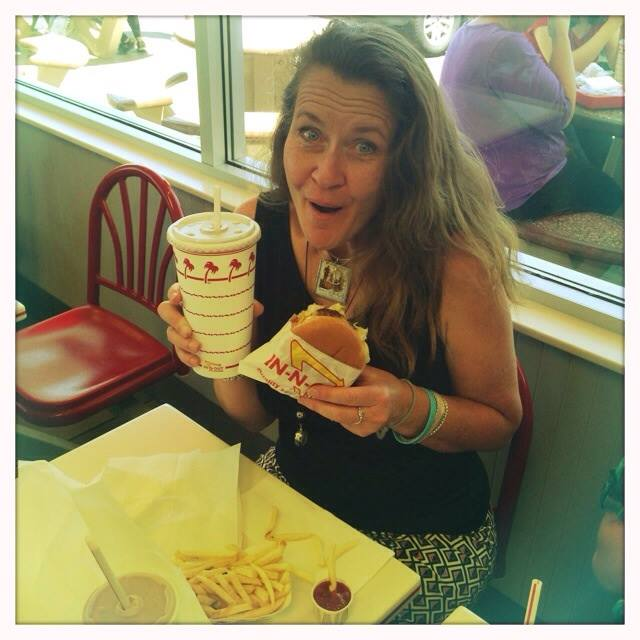 "Mama on Mother's Day.  The family speaking my ""love language"" at In n Out!"