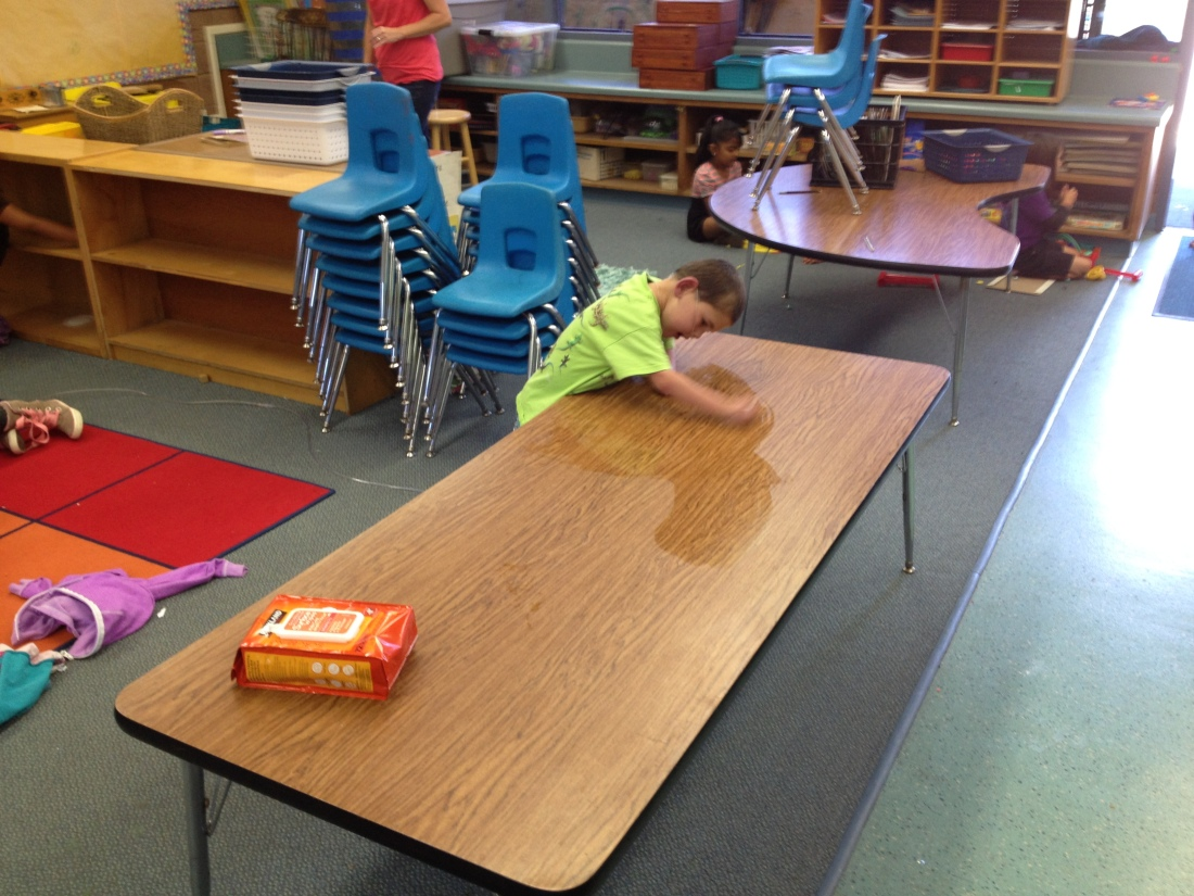 Rudy helped with classroom clean-up at the end of the day...