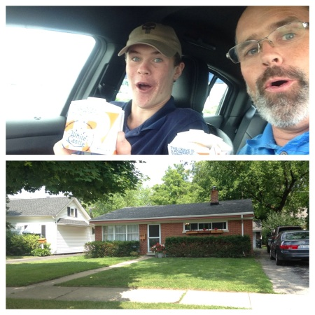 While Wilson and Rolf were in Chicago (on business and a college visit), they made a stop at two of my favorites - White Castle and my childhood home!  Yay!