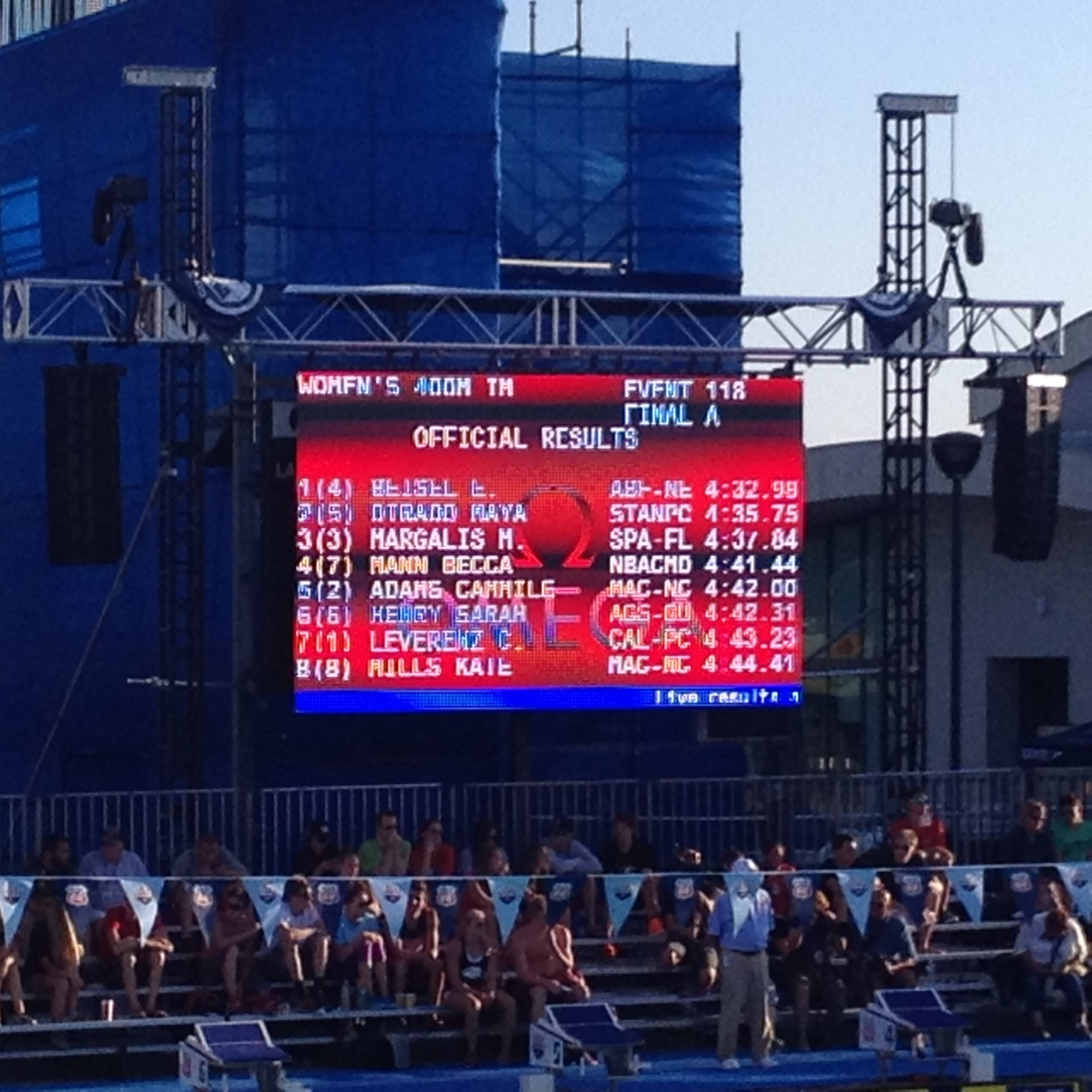 Maya placed a thrilling 2nd in the 400 IM…she's headed to Australia for the World Championship!!!