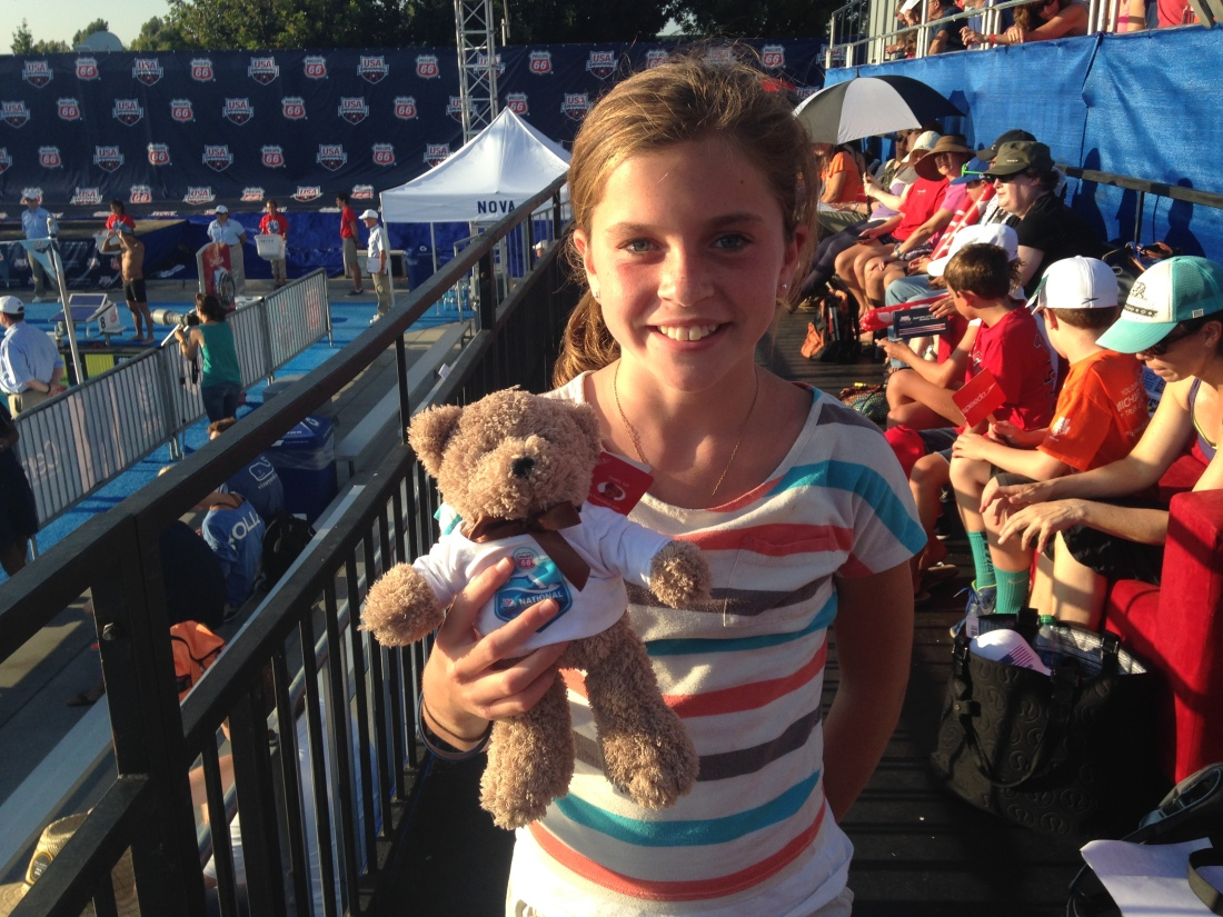 Sweet Maya gave sweet Olivia her podium bear!!!