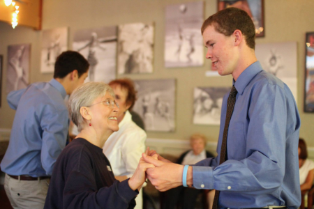 "Wilson was invited to help a friend with her Girl Scout Gold Award project…she planned a ""Senior Prom"" at a local assisted living community!  Such a cute idea and Wison's dance card was full all night! :)"