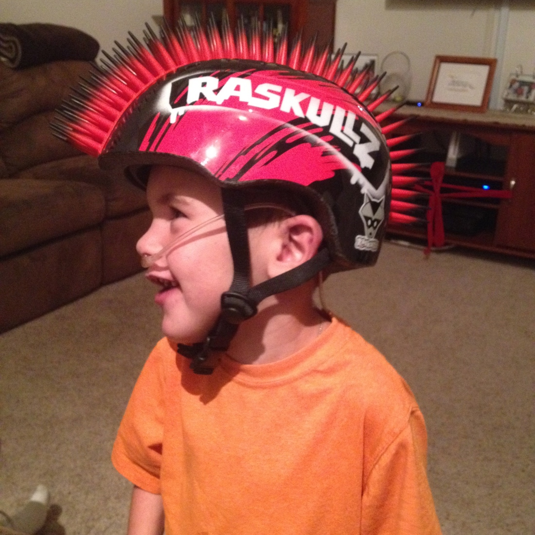 Rudy sporting his new bike helmet!  :)