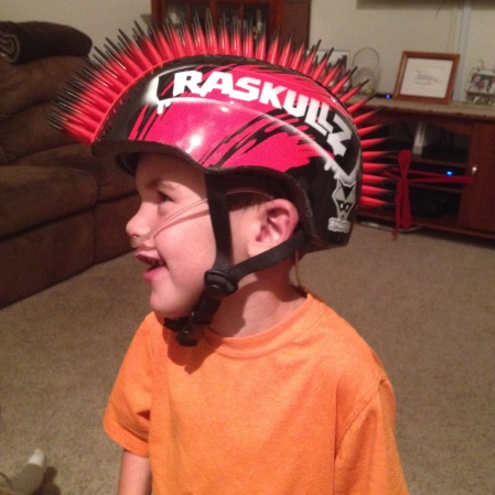 Rudy sporting his new bike helmet!  :)