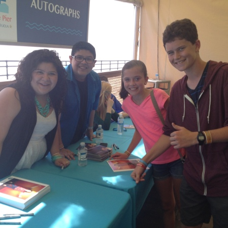 "..getting autographs from another ""Modern Family"" cast member Rico Rodriguez and his sister Disney Star Raini Rodriquez..."