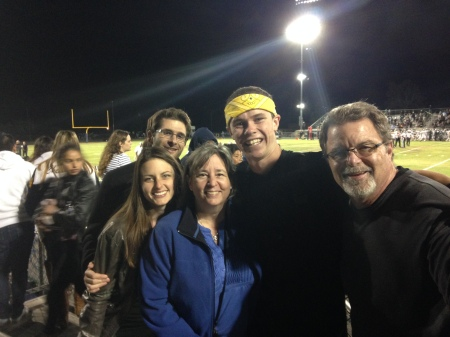 "Wilson's godparents Bob & Kathy and their daughter and son-in-law joined us for Wilson's LAST home football game to watch him rock the drum line!  And so the ""lasts"" of Wilson's senior year begins!!!  How is this possible?"