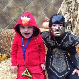 Rudy and his school buddy Harrison went trick-or-treating together at a local shopping center...fun times!