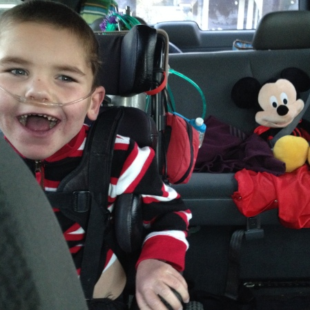 Rudy asked that Mickey come along too…he was all smiles when Mickey got buckled in and ready to go!!