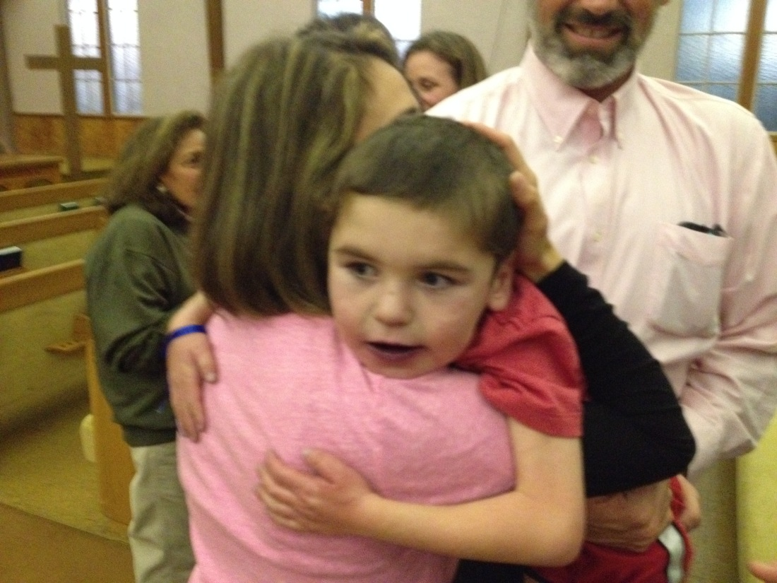 A hug with Moriah's Mom Victoria.