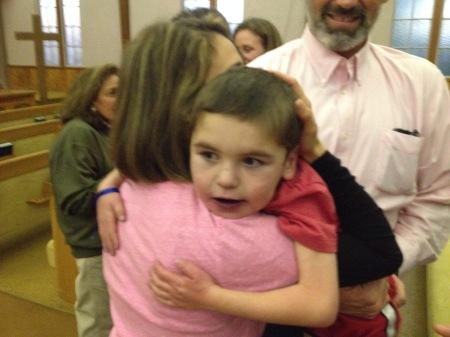 A hug with Moriah's Mom Victoria.