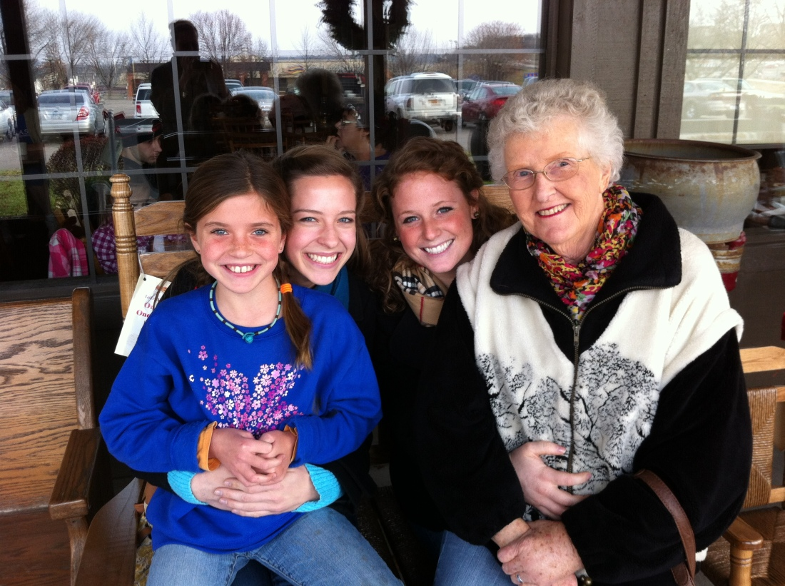 Olivia with Emma, Emilie and Gma Jo in 2011.