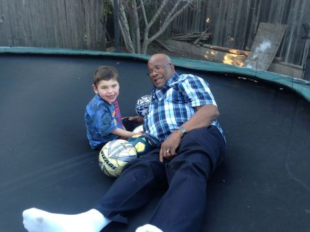 "Speaking of a little ""down time""…Rudy convinced good friend Ric to join him on the trampoline during a SBRM dinner we hosted.  Rudy sure loves Ric and considering Ric climbed onto our trampoline (not an easy task), I think the feeling is mutual!"