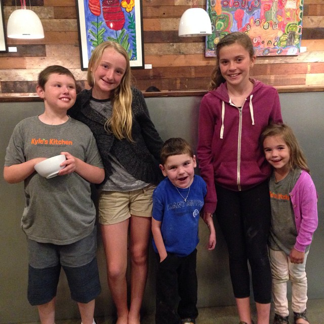 Kyle's Kitchen is becoming quite the neighborhood hangout…We ran not into Rudy's big buddy, Natalie, from school and, of course, Kyle and his sister during our last visit!  Yum!!!