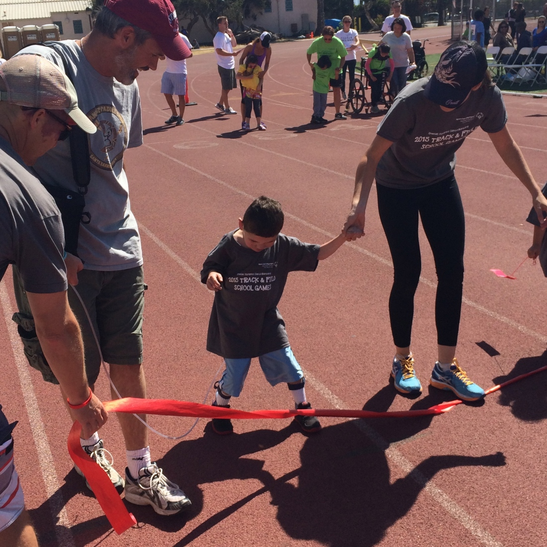 Rudy wasn't too keen on the loud, crowded event…his 25m unassisted walk event kind of turned into the 3 foot drag (ha ha ) but he finally crossed the finish line!...