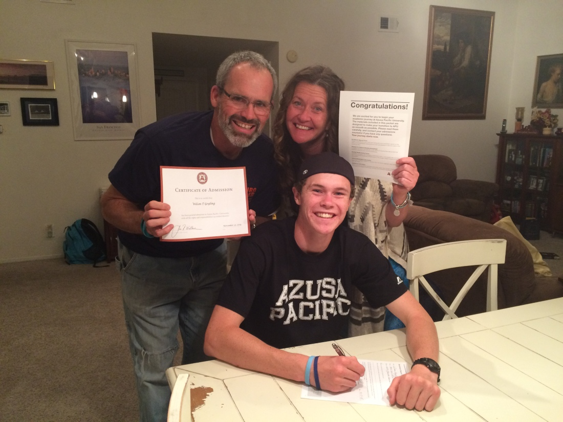 After much deliberation, Wilson has decided to attend Azusa Pacific University next year!  We are so thrilled for him…he's going to love college!
