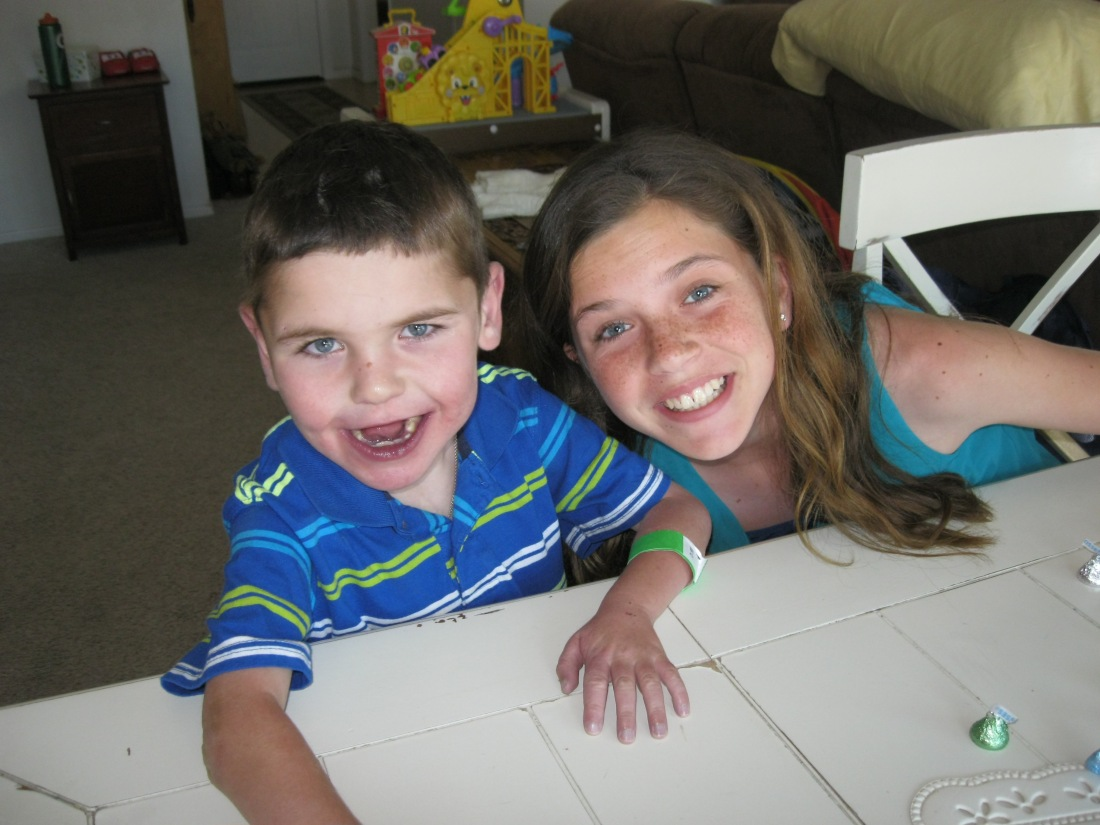 Olivia and Rudy getting ready for the Annual Geyling Family Easter Basket Hunt!