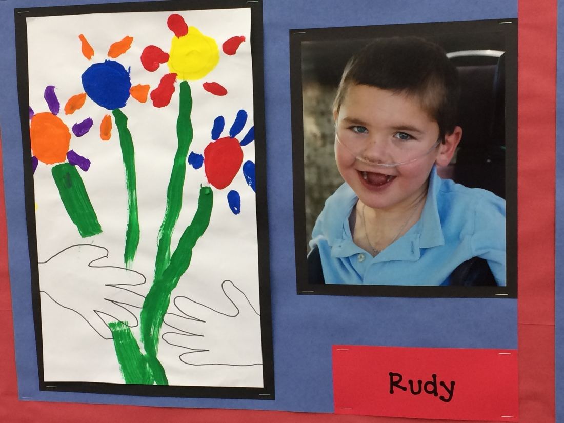 Rudy sure missed being at school and with his friends last week.  He has made up for it with some fun school moments this week...(Rudy's spring flower painting)
