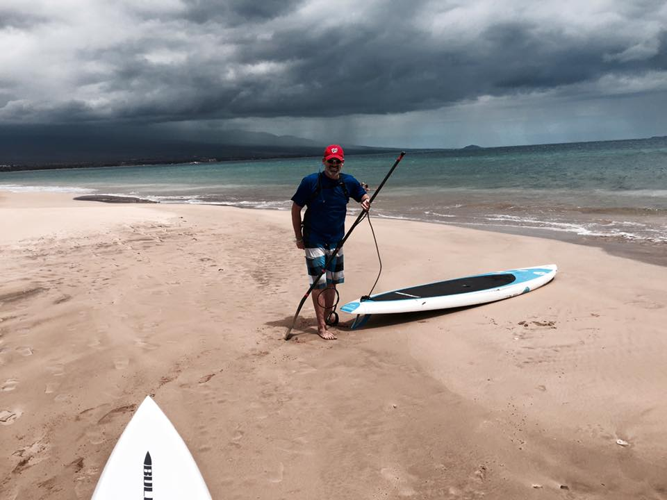 He also made arrangements with a local dude he met online to do a downwind run to Kihei...thankfully the guy was a legit SUPer or this could have been the last picture we have of Rolf.