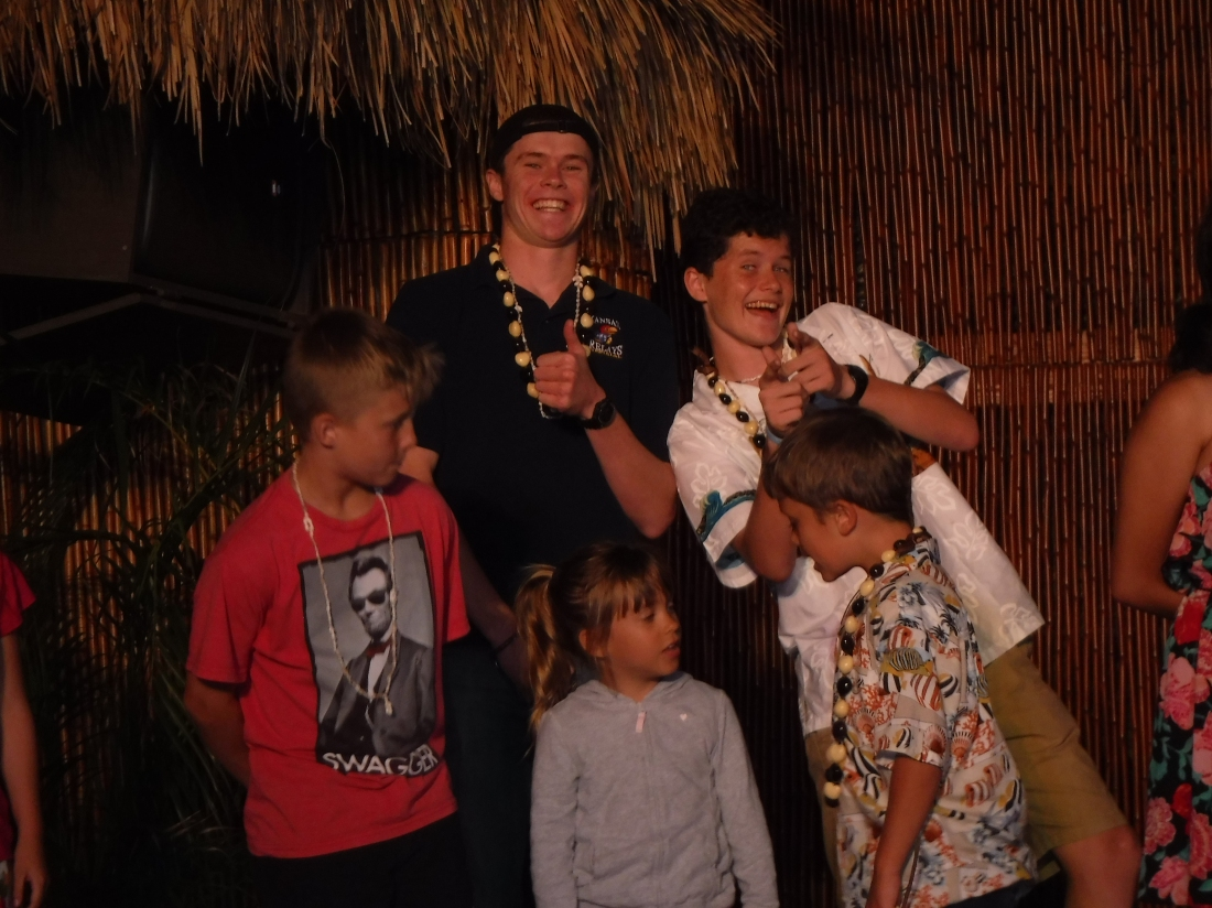 """The big boys were good sports and participated in the """"Keiki Hula"""" solely for a photo op!  Ha Ha"""