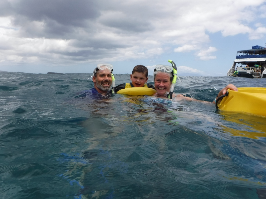 Never thought our little half-heart would swim in the Pacific Ocean off the coast of Maui!