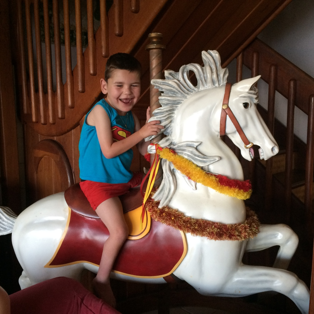 Shhhh, I don't think we were supposed to sit on it but there was a carousel horse in the middle of our condo!