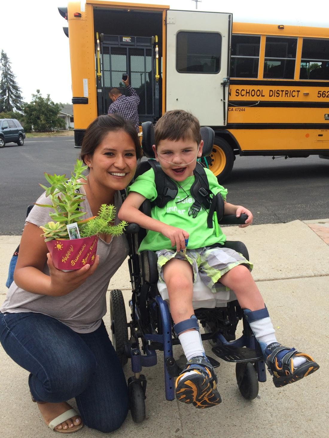 Rudy's last day of summer school with Nurse Viviana.