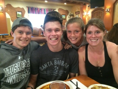 Max, Wilson, Olivia and our friend Becky at La Tolteca in Azusa!! Yum Yum!!